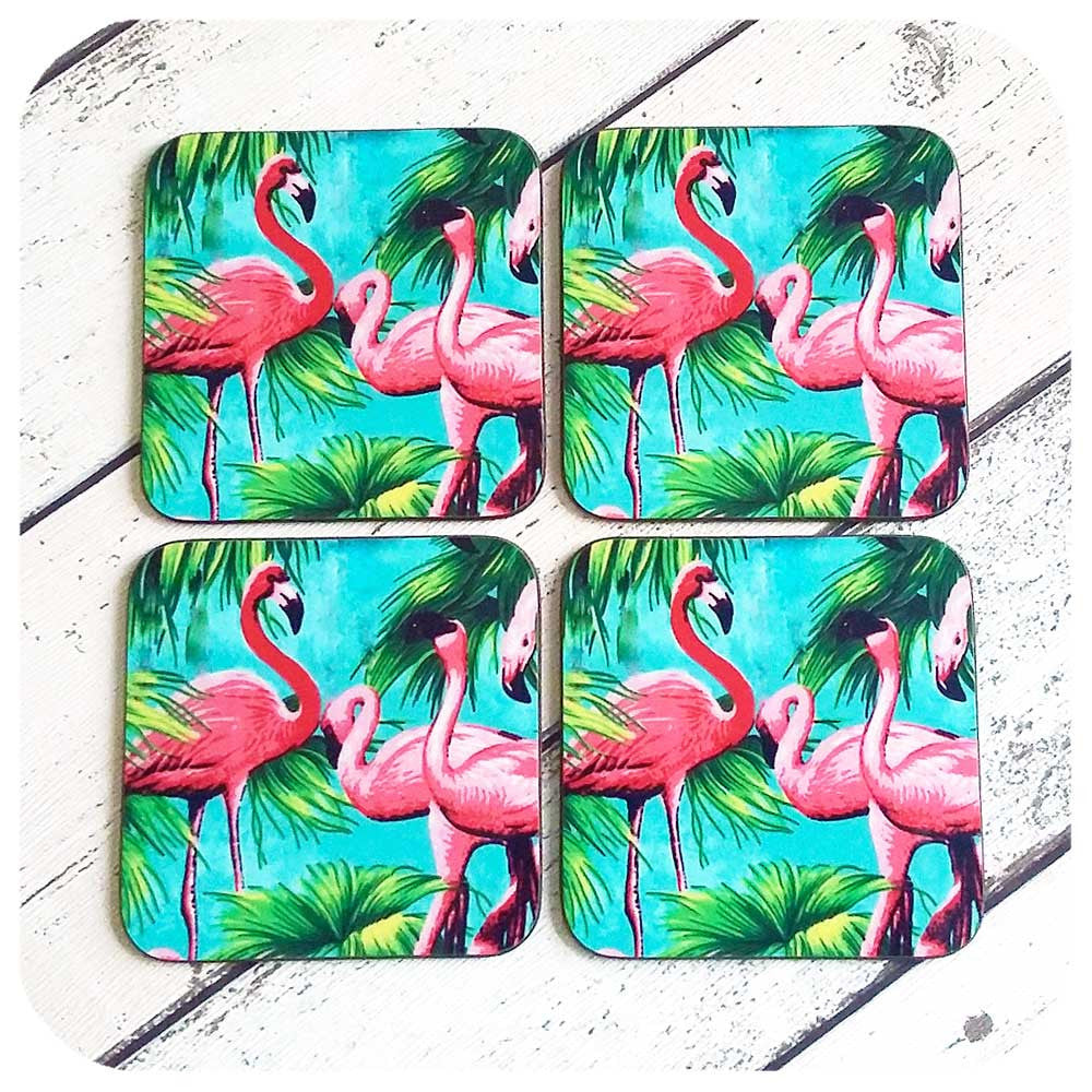 Set of four Tropical Flamingo Coasters | The Inkabilly Emporium