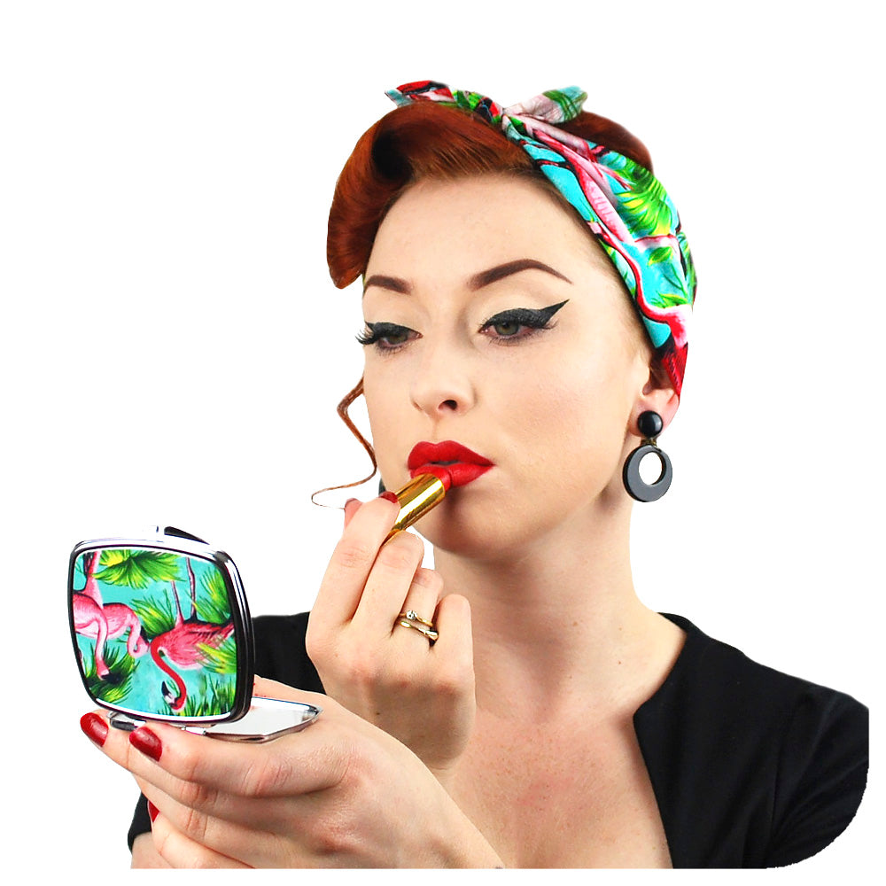 Flamingo Gift Set, matching flamingo bandana and compact mirror, modelled by retro pin-up model Miss Jessica Holly | The Inkabilly Emporium