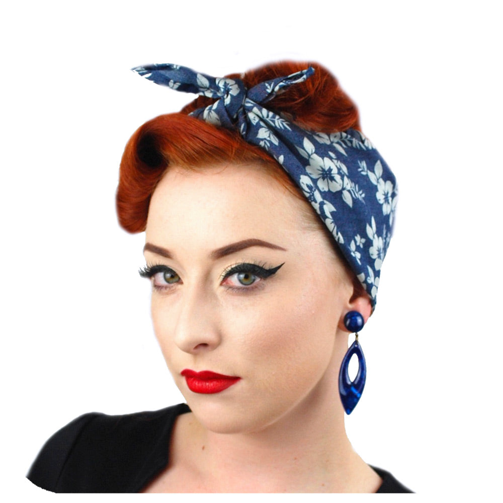 Floral Denim Bandana | The Inkabilly Emporium