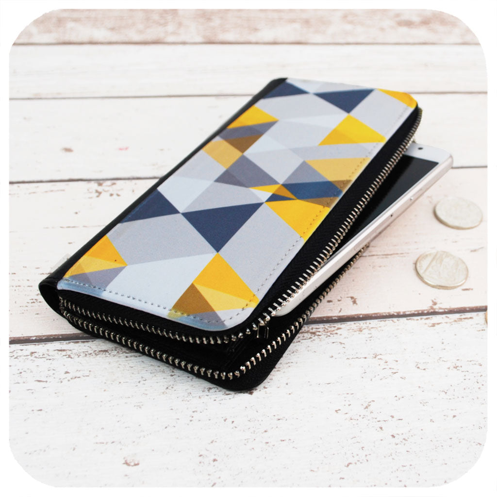 Grey & Mustard Yellow Scandi Geometric Purse | The Inkabilly Emporium