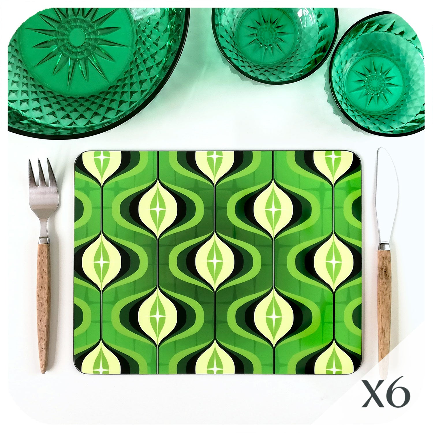 1970s Op Art Placemats in green, set of 6 | The Inkabilly Emporium