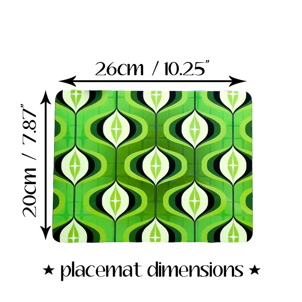 70s Green Op Art Placemat dimensions | The Inkabilly Emporium