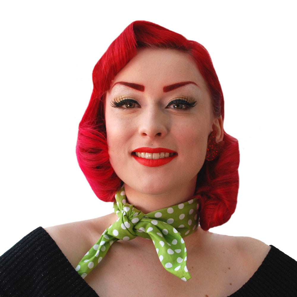 Green Polka Dot Necktie | The Inkabilly Emporium