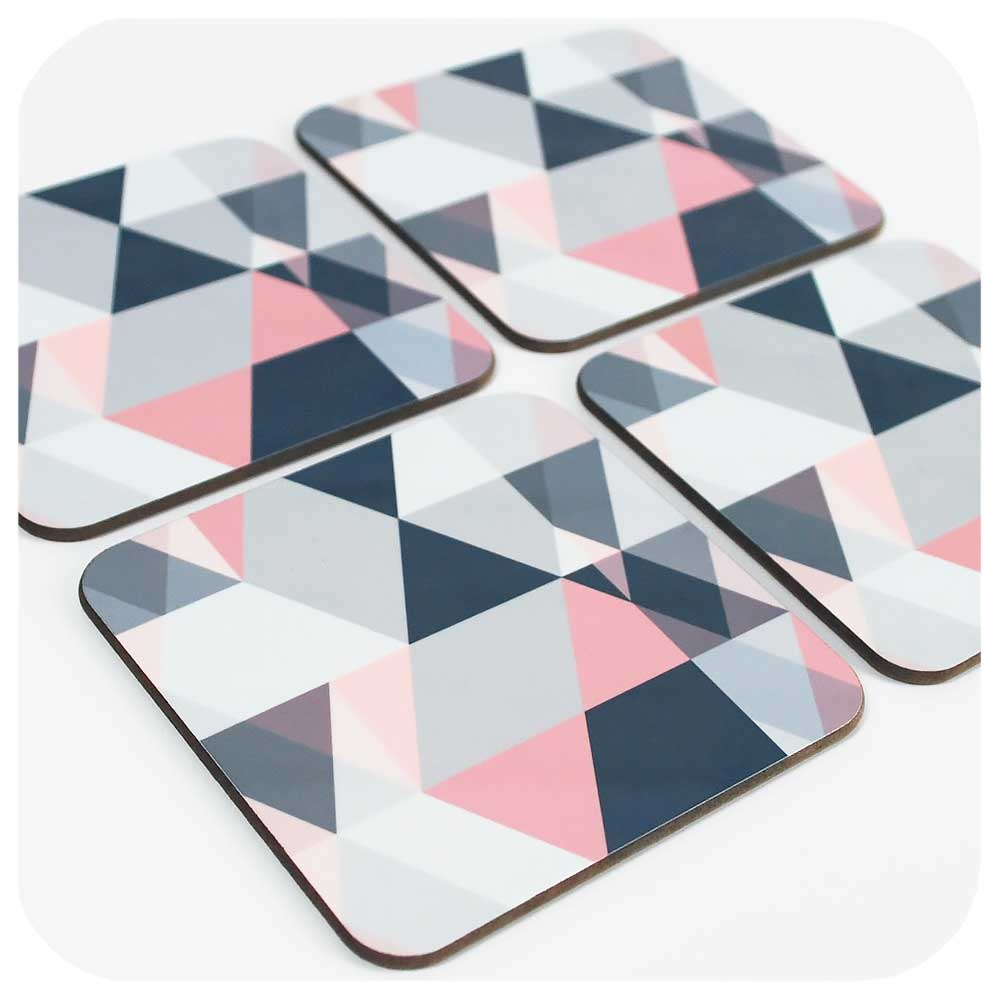 Grey and Pink Scandi Style Coasters, set of 4 | The Inkabilly Emporium