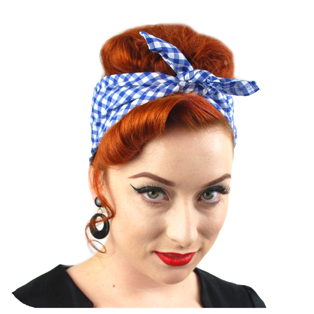 Royal Blue Gingham Bandana | The Inkabilly Emporium