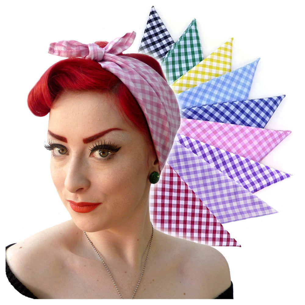 Gingham Bandanas, Retro Head Scarf, available in 9 colours  | The Inkabilly Emporium