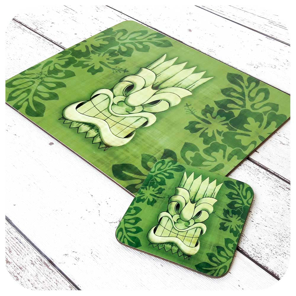 Green Tiki Mask Tableware Set | The Inkabilly Emporium