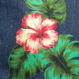 Hawaiian Hibiscus Flower Denim Tote Bag | The Inkabilly Emporium