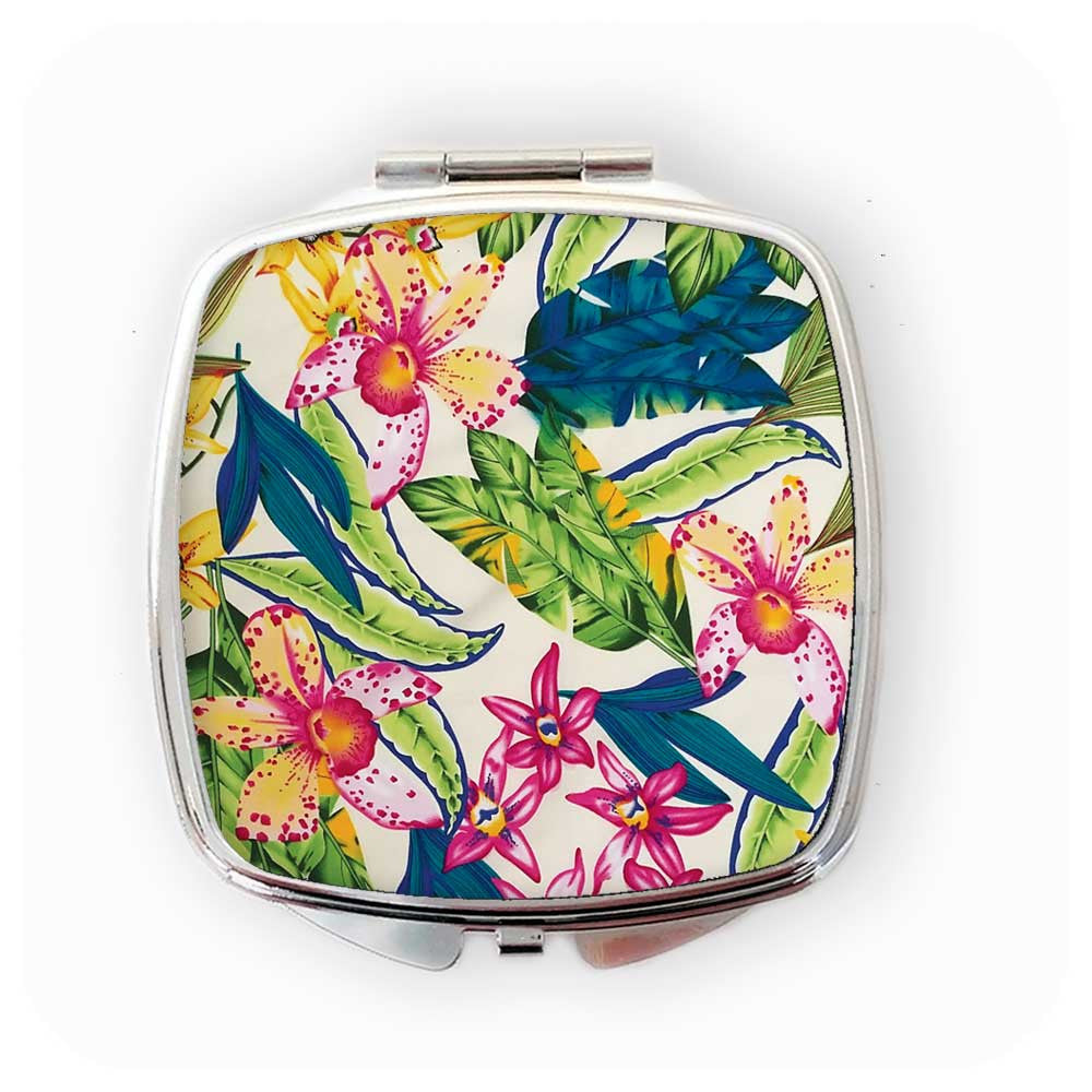 Tropical Hibiscus Flower Compact Mirror | The Inkabilly Emporium