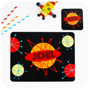 Personalised Kids Placemat & Coaster - Retro Space Design | The Inkabilly Emporium
