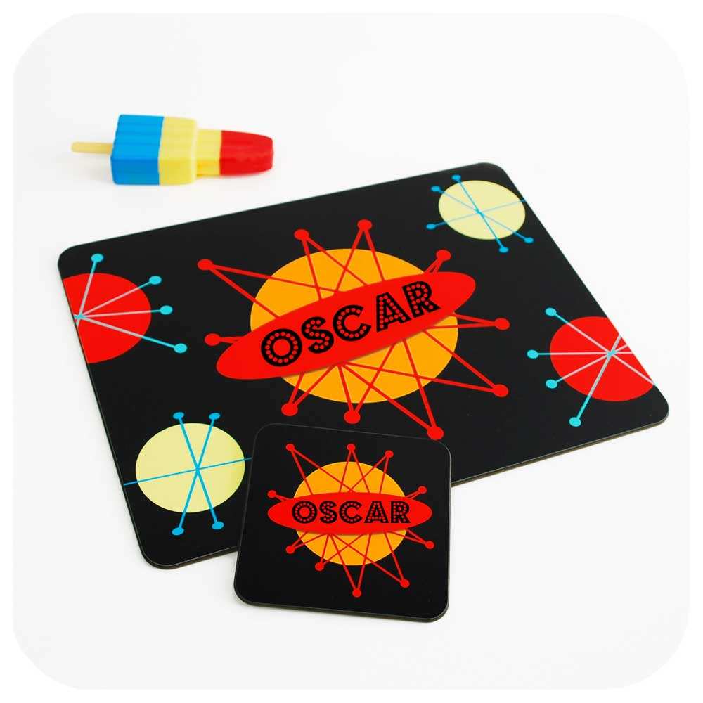 Retro Kids Personalised Placemat & Coaster - Space Design | The Inkabilly Emporium