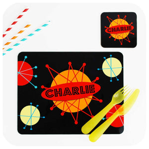 Personalised Kids Placemat & Coaster Set - Retro Space