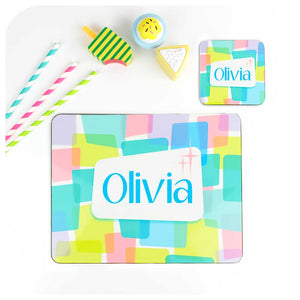 Kids personalised placemat & coaster set - Retro Rainbow | The Inkabilly Emporium