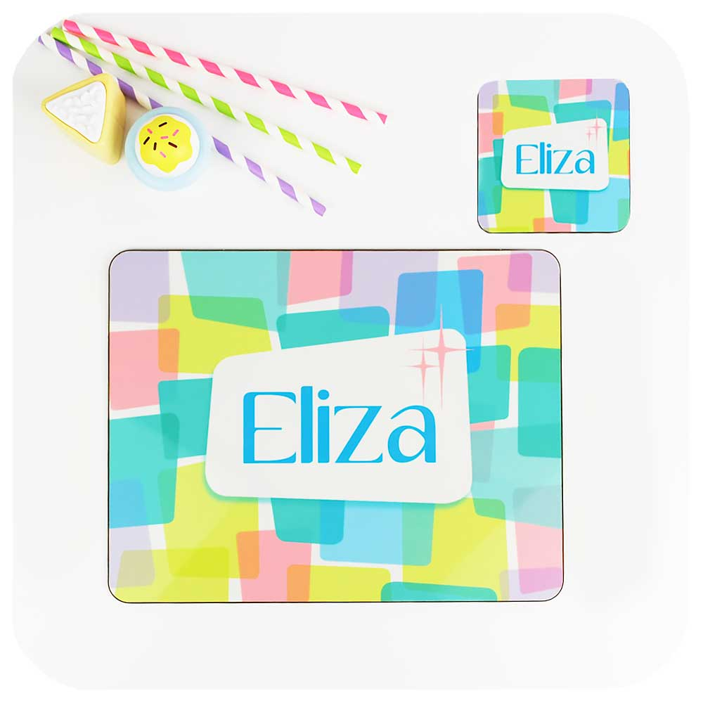 Girls personalised placemat & coaster set | Retro Kids Tableware by Inkabilly