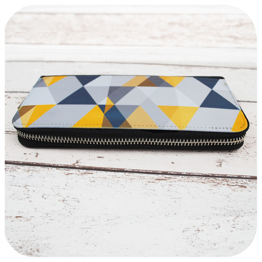 Large Geometric Purse - grey & yellow | The Inkabilly Emporium