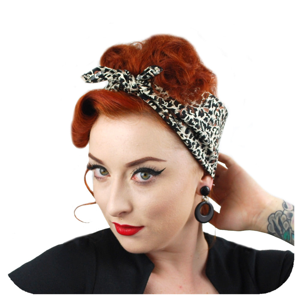 Leopard Print Bandana by Inkabilly, modelled as a head scarf | The Inkabilly Emporium