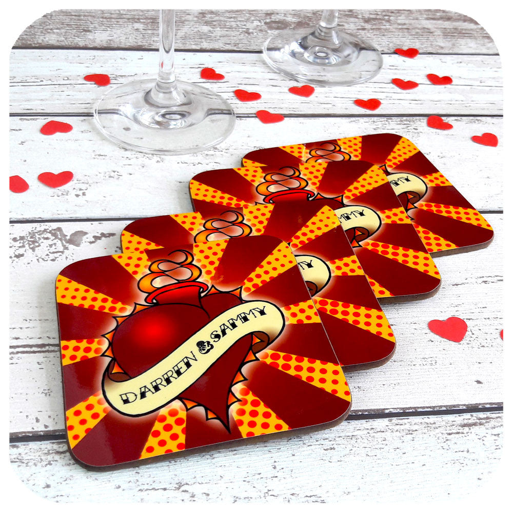 Personalised Anniversary Coasters, sacred heart design | The Inkabilly Emporium