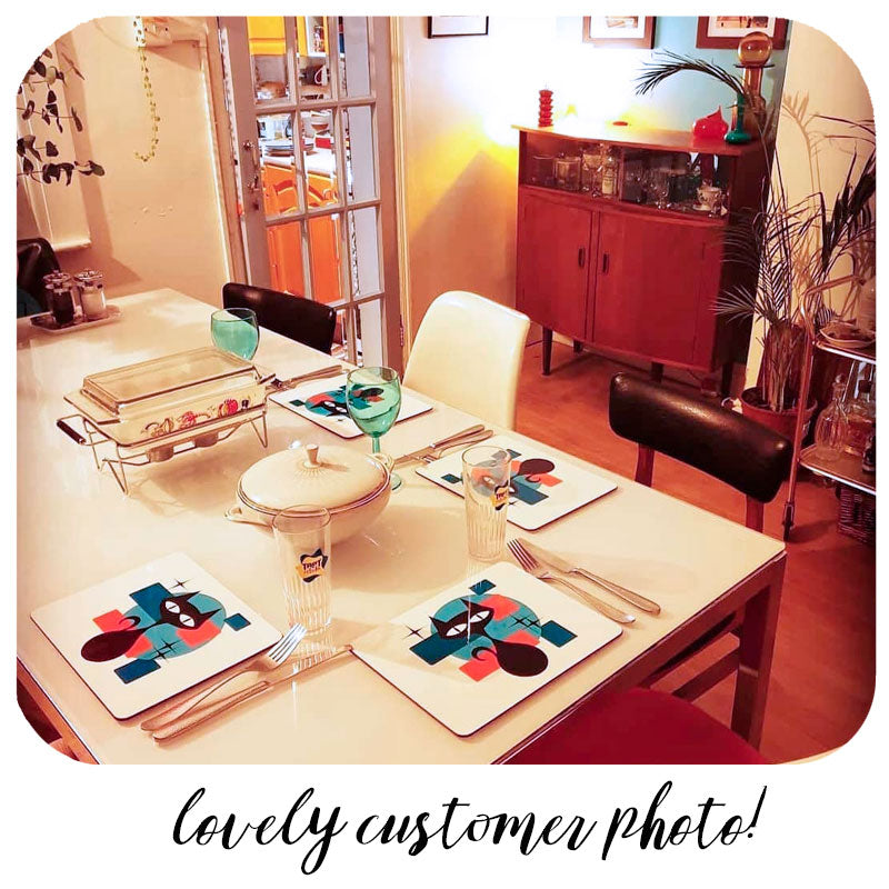 Customer photo of Atomic Cat Placemats set on a table in retro dining room | The Inkabilly Emporium