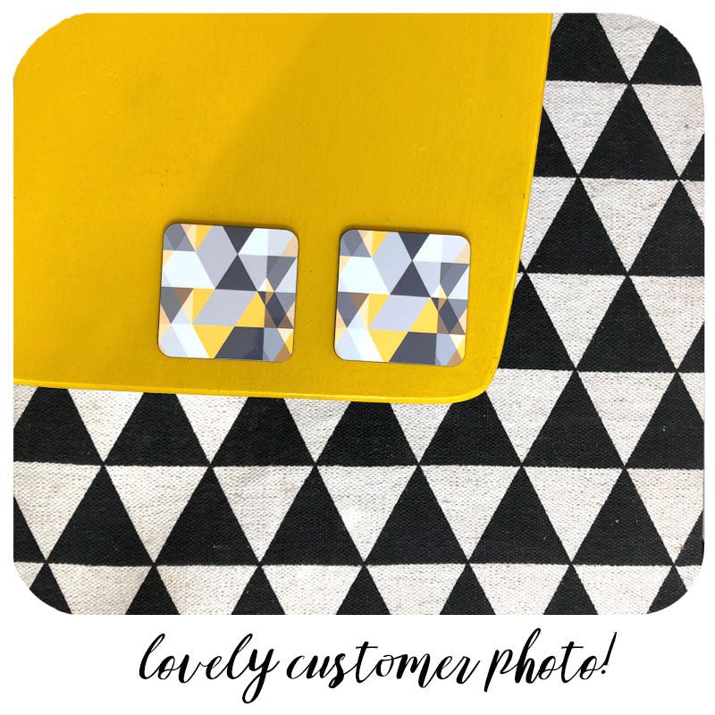 customer photo of Scandi Geometric coasters on yellow table with geometric rug | The Inkabilly Emporium