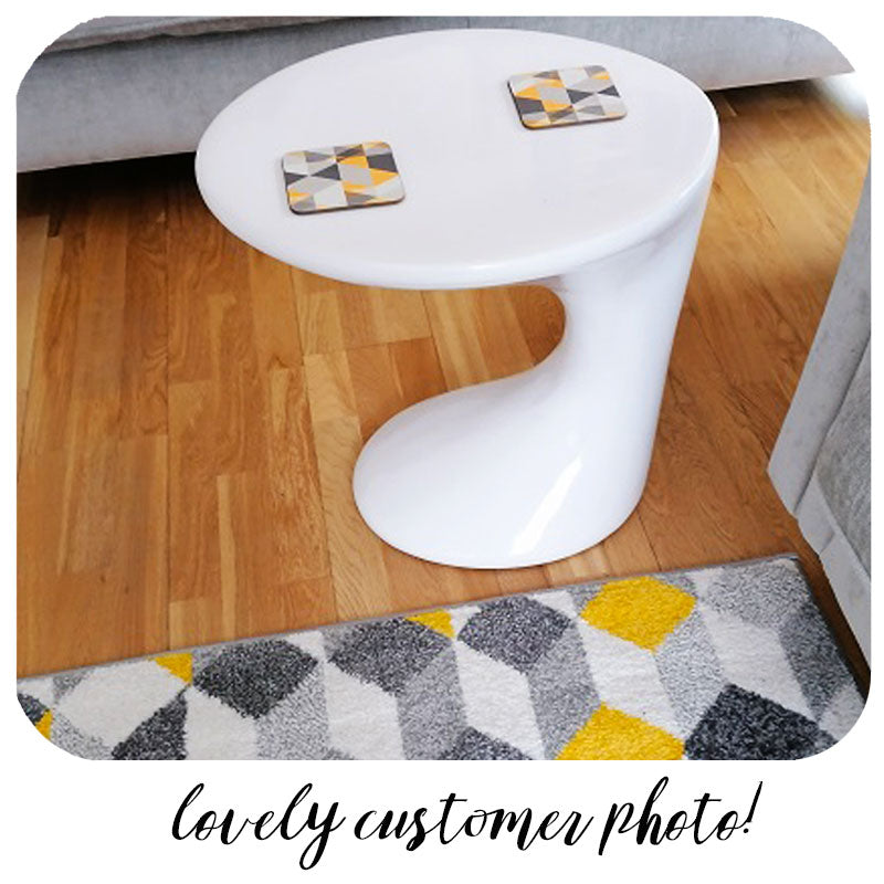 Customer photo of Scandi Geomeric Coasters on retro side table | The Inkabilly Emporium