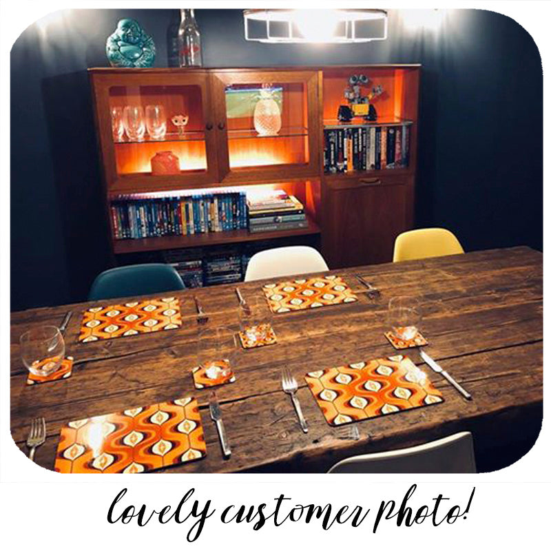 Customer photo of Op Art Coasters and Placemats | The Inkabilly Emporium
