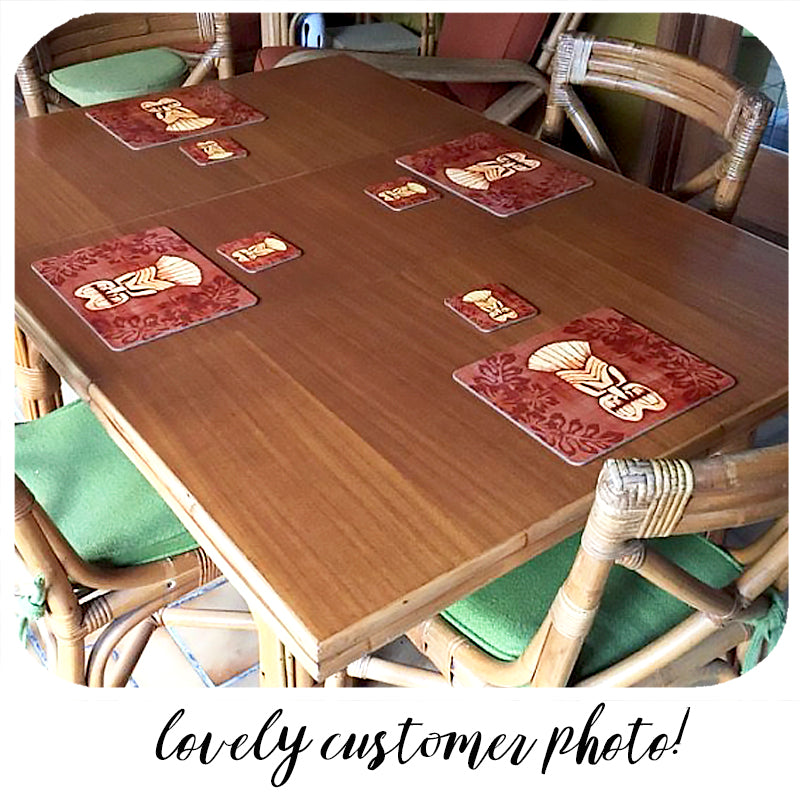 Lovely customer photo of our Brown Tiki Placemats and Coasters in a fabulous Tiki room | The Inkabilly Emporium