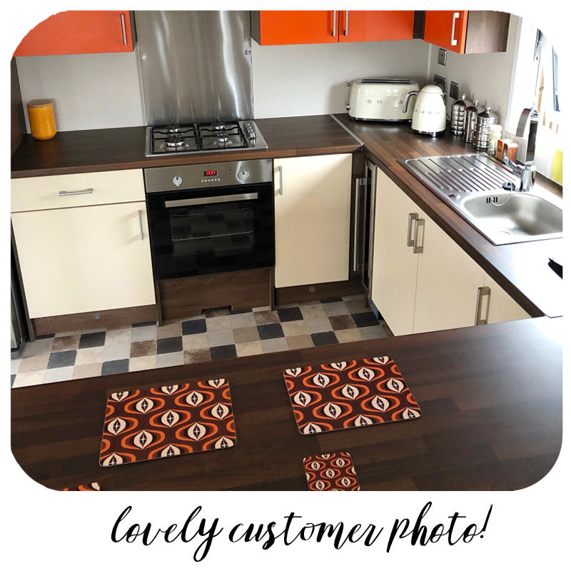 Customer photo of Brown Op Art Placemats and coasters in kitchen | The Inkabilly Emporium