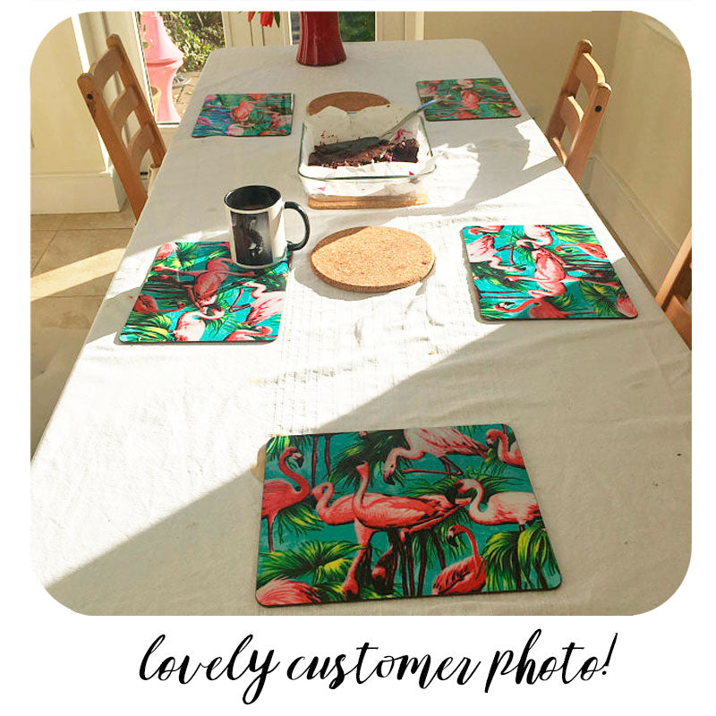 Customer photo of our Flamingo Placemats | The Inkabilly Emporium