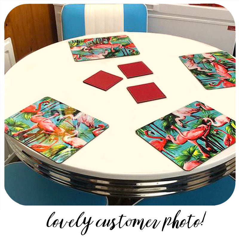 Customer photo of our Flamingo Placemats on a vintage diner style dinette set | The Inkabilly Emporium