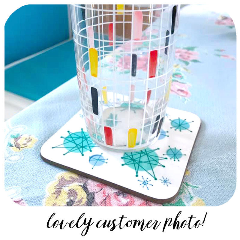 Lovely customer photo of our Atomic Starburst coaster with vintage glass | The Inkabilly Emporium
