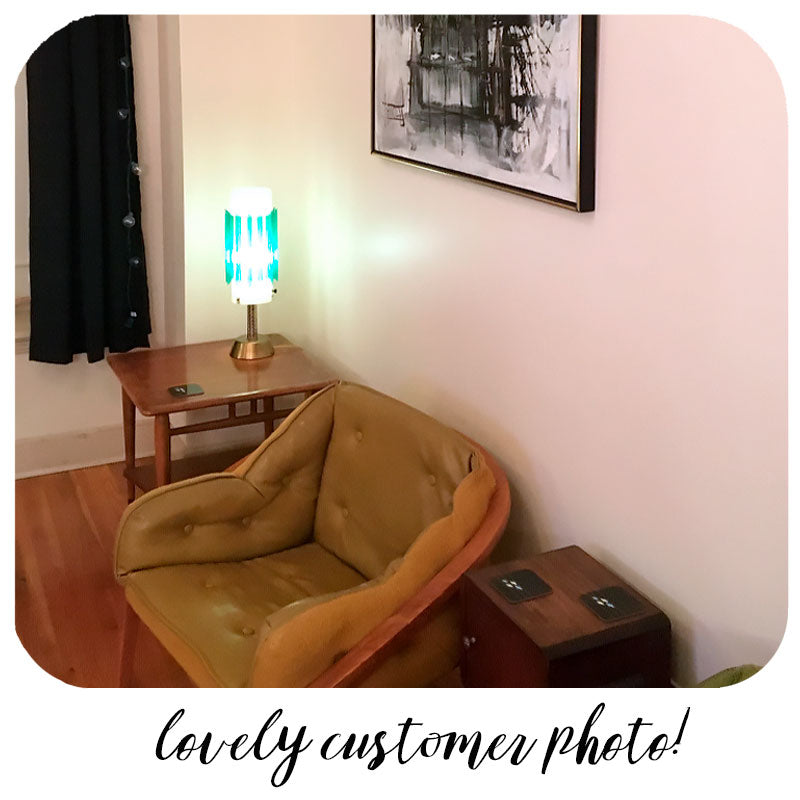 Customer photo - Mid Century Geometric Coasters in Mid Century style home | The Inkabilly Emporium