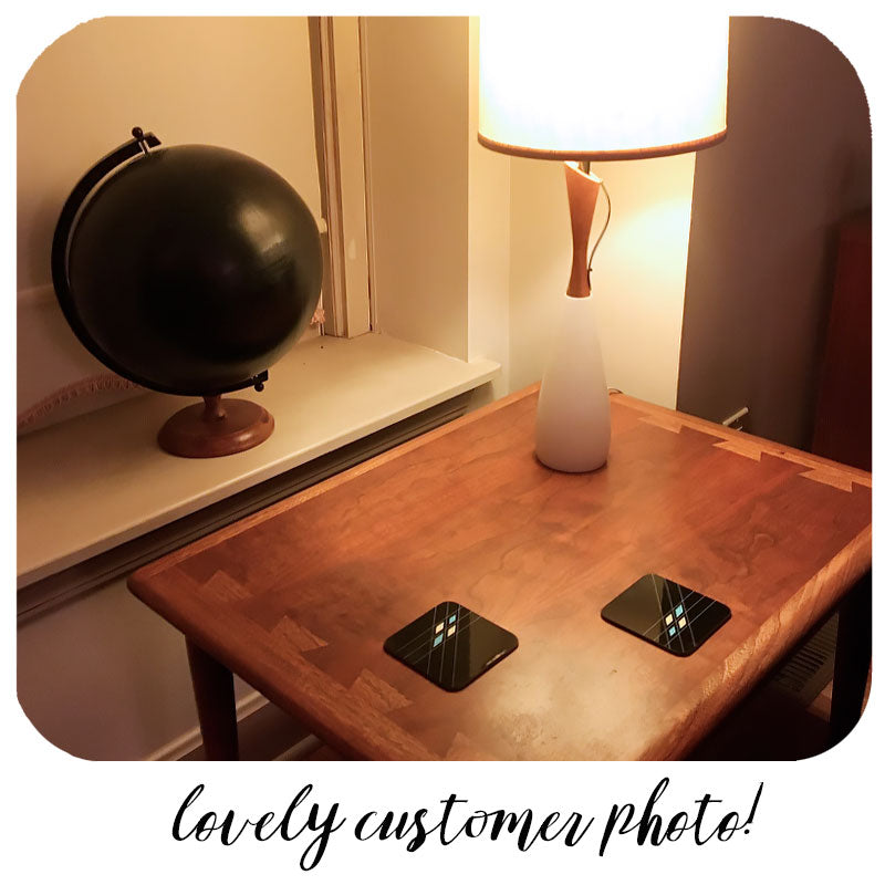 Customer photo - Mid Century Geometric Coasters on Mid Century coffee table with vintage lamp | The Inkabilly Emporium