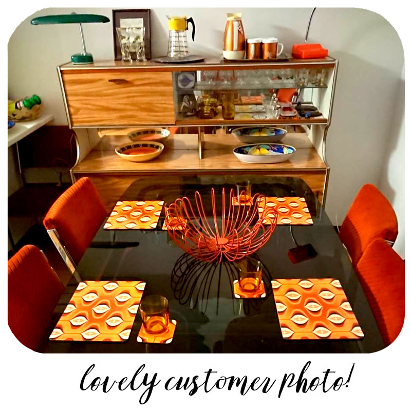 Customer photo sent in to us showing our 70s Op Art tableware in their new Mid Century style home in Perth, Australia | The Inkabilly Emporium