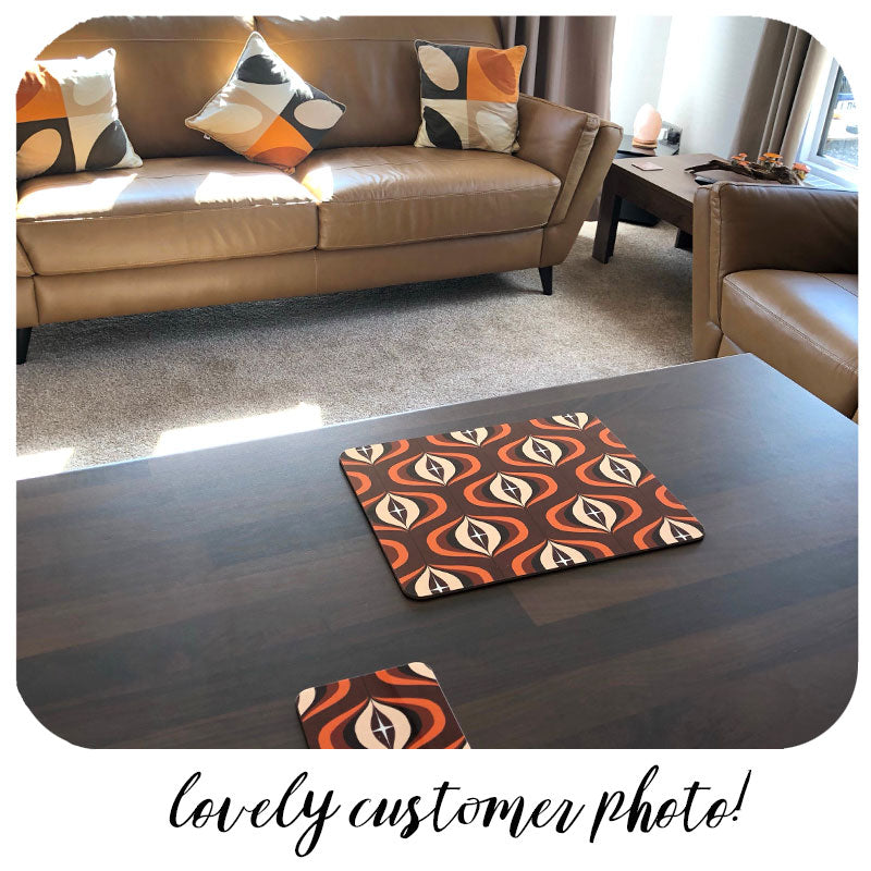 Customer photo of Brown 70s Op Art Placemat and coaster | The Inkabilly Emporium