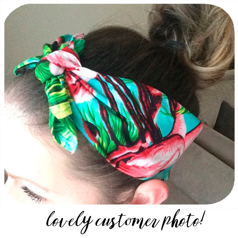 lovely customer photo of our flamingo bandana looking super cool! | The Inkabilly Emporium
