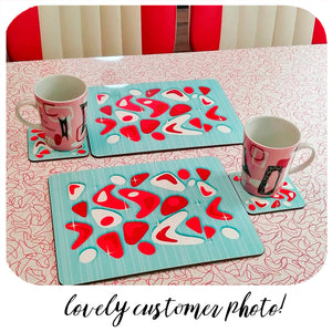 Atomic Boomerang Placemat & Coaster Set in Aqua & Red | The Inkabilly Emporium