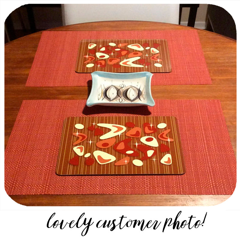 fabulous customer photo of our atomic boomerang placemats in red & teak | The Inkabilly Emporium