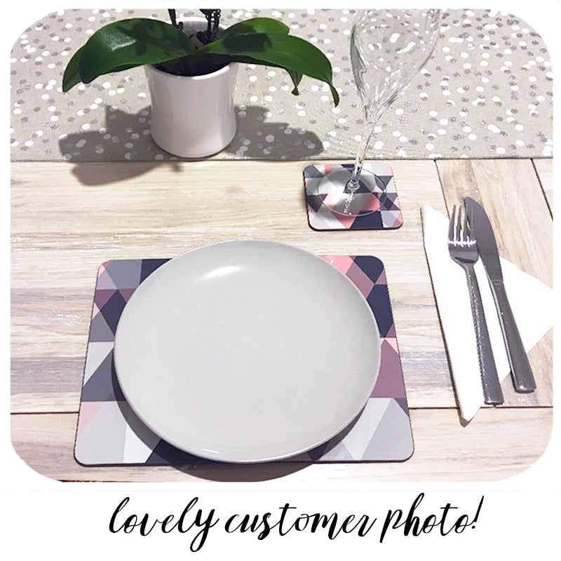 fabulous customer photo of our blush pink & grey coasters and placemats | The Inkabilly Emporium