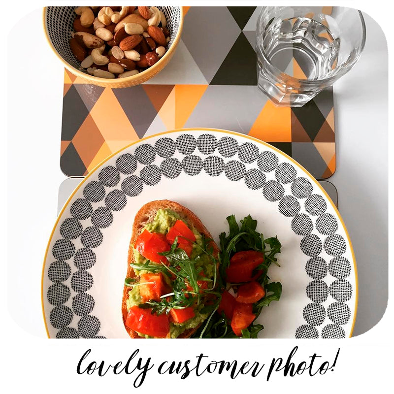 fabulous customer photo showing our Scandi Geometric Placemats looking super cool! | The Inkabilly Emporium