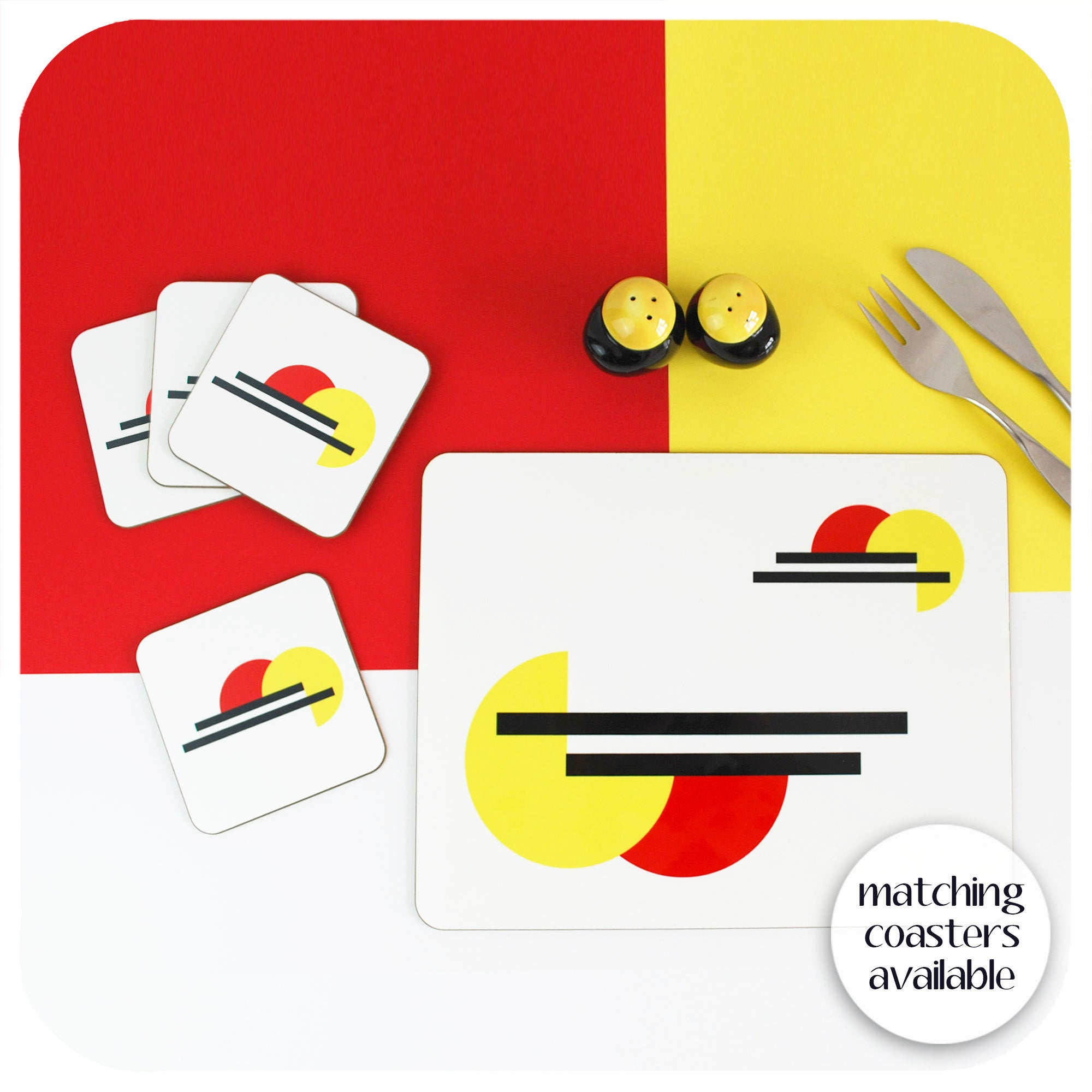 Bauhaus placemat with matching coasters | The Inkabilly Emporium
