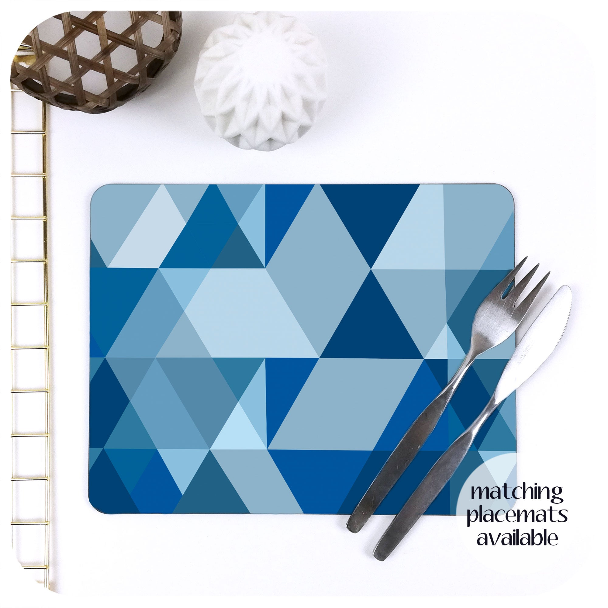 Scandi Geometric Placemat in Blue and Grey | The Inkabilly Emporium