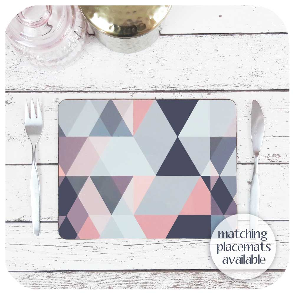 Blush Pink and Grey Scandi geometric placemats to match coasters  | The Inkabilly Emporium