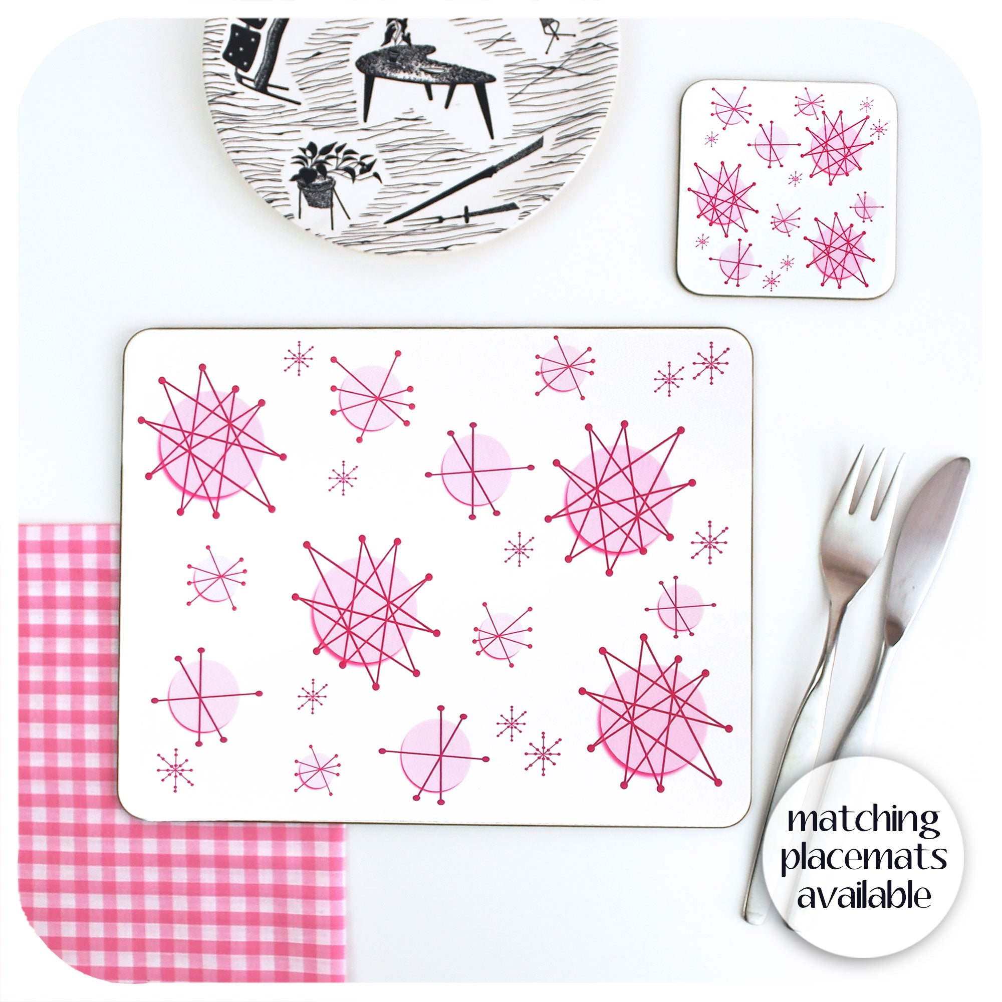 Pink Atomic Starburst Placemats to match coasters available | The Inkabilly Emporium