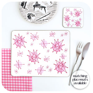 Pink Atomic Starburst Coaster, with matching placemat also available | The Inkabilly Emporium