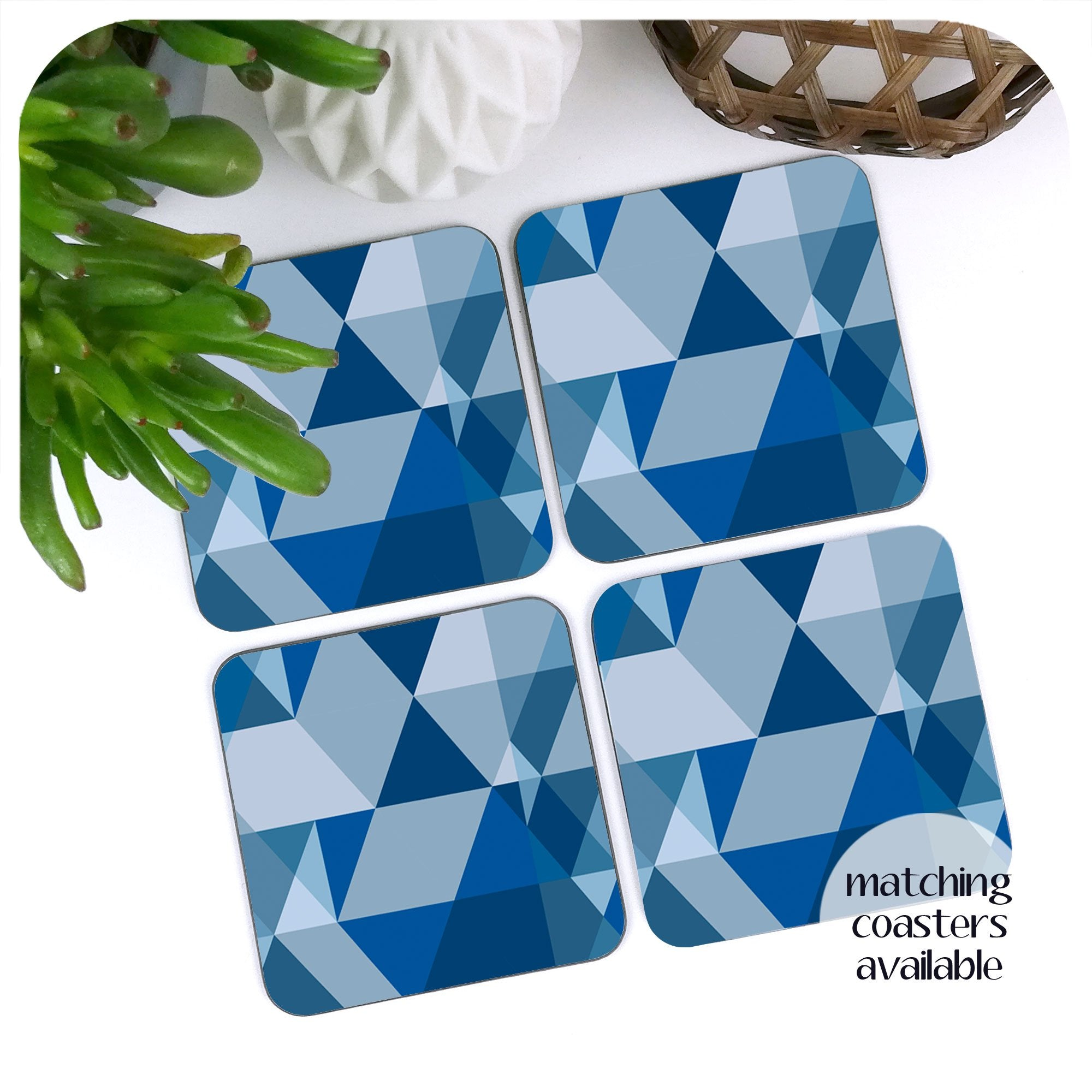 Matching Scandi Geometric coasters in Blue, set of 4 | The Inkabilly Emporium