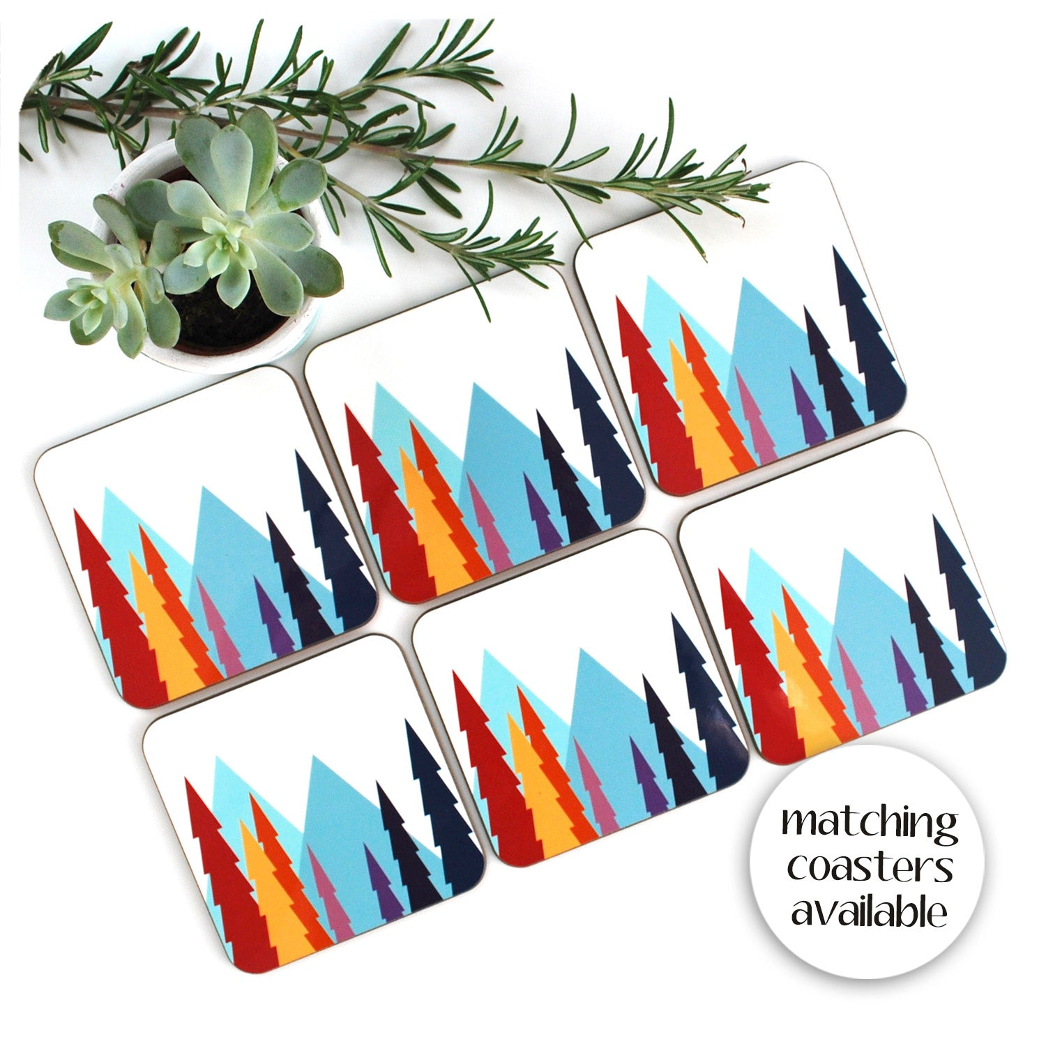 Nordic Trees Coasters, set of 6 to match placemats | The Inkabilly Emporium