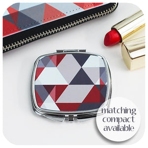 Scandi Geometric Large Zip Around Purse - red & grey | The Inkabilly Emporium