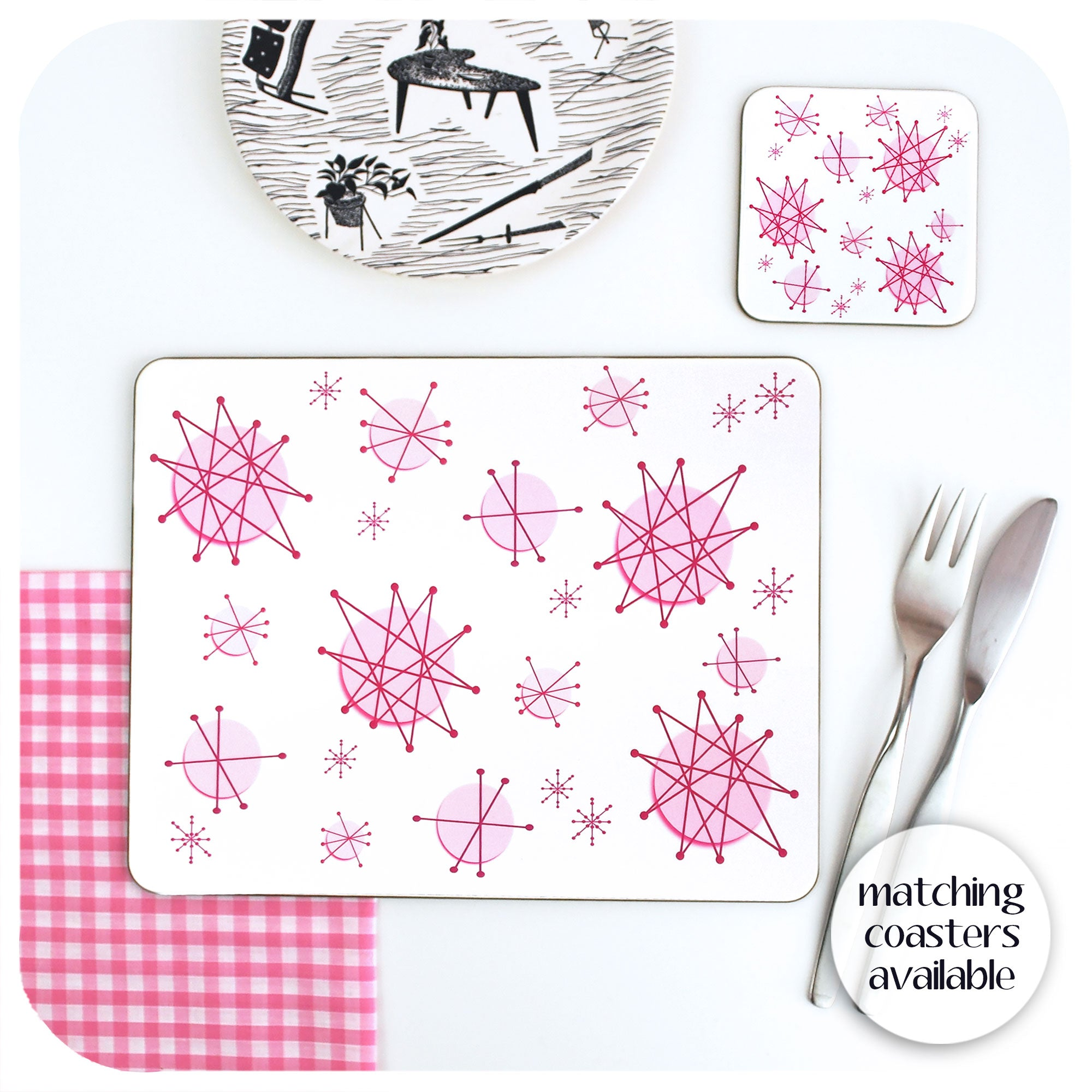 Pink Atomic Starburst Placemat with matching coaster | The Inkabilly Emporium