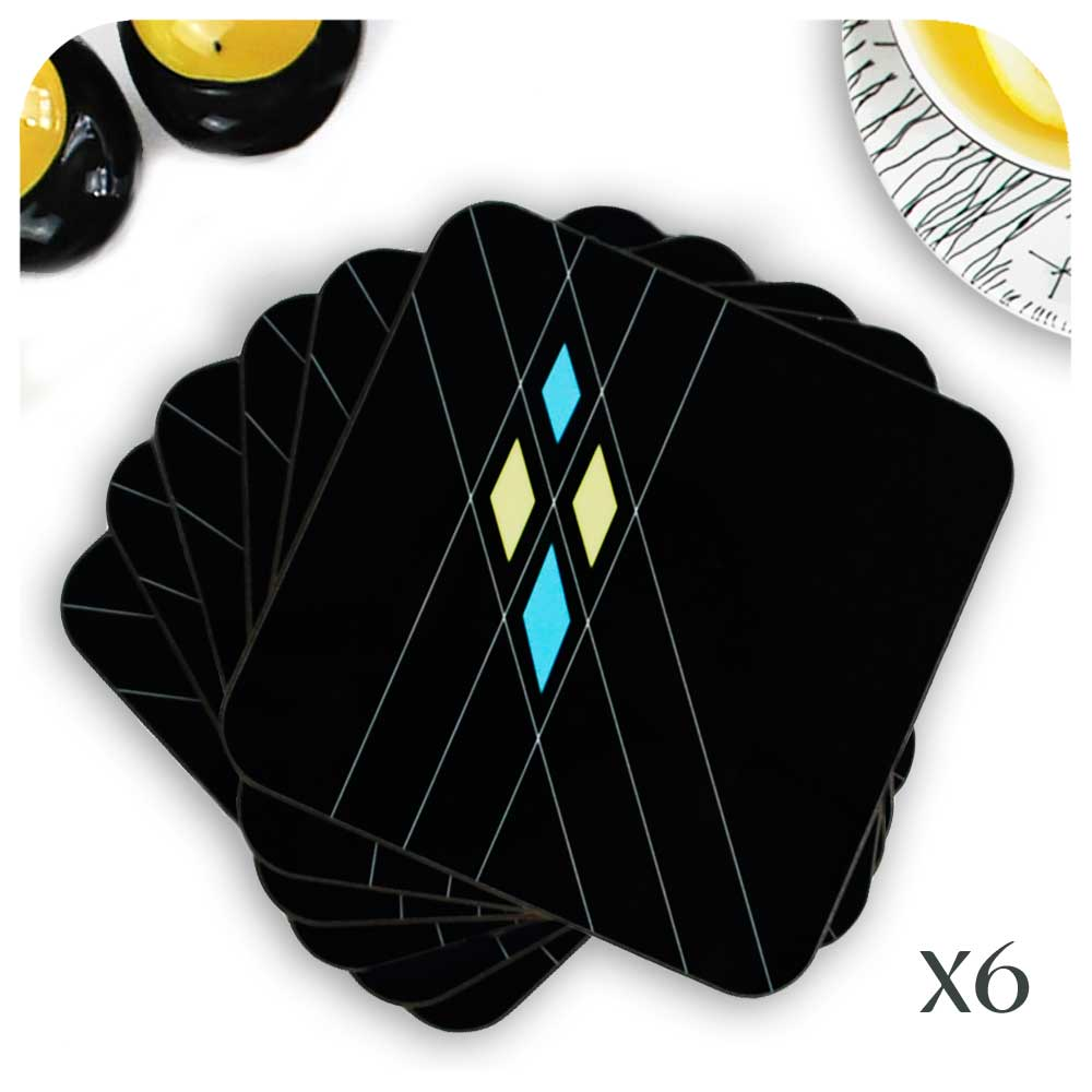 Set of 6 Mid Century Geometric Argyle Coasters, in Black | The Inkabilly Emporium