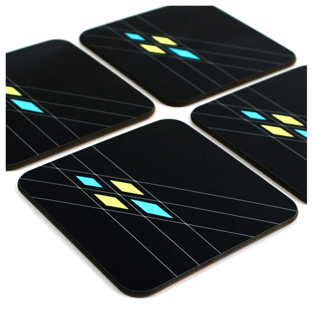 Mid Century Geometric Argyle Coasters in Black, set of 4 | The Inkabilly Emporium